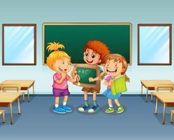 alunos no fundo da sala de aula vetor