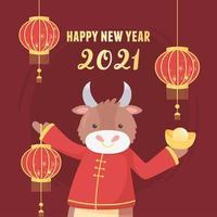 bandeira do ano novo chinês do boi vetor