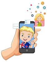 crianças com elementos de mídia social vetor
