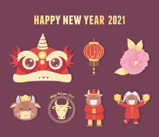 conjunto de ícones do ano novo chinês do boi vetor