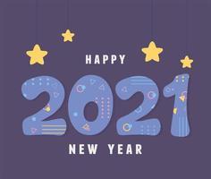 banner com letras feliz ano novo 2021 vetor