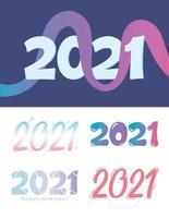feliz ano novo conjunto de letras 2021 vetor