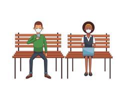 casal interracial usando máscara usando tecnologia sentado vetor