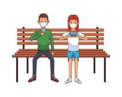 jovem casal usando máscara médica usando tecnologia