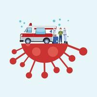 trabalhadores de biossegurança com roupa de risco biológico e ambulância vetor