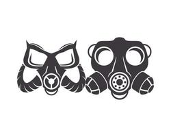 par de ícones de máscaras de gás de biossegurança vetor