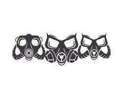 três ícones de máscaras de gás de biossegurança vetor
