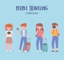 coleção de jovens viajando
