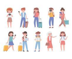 conjunto de turistas viajando vetor