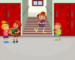 crianças felizes no corredor da escola vetor