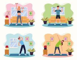 pessoas praticando exercícios em casa