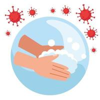 lavagem das mãos com partículas covid 19 vetor