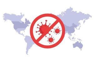 mapa mundial com sinal de parada covid19