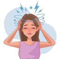 mulher com dor de cabeça e caráter de sintoma de estresse vetor