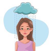 mulher triste com sintoma de estresse e nuvem de chuva vetor