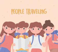 jovens viajando composição vetor