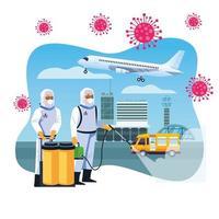 trabalhadores de biossegurança desinfetam aeroporto para covid 19 vetor
