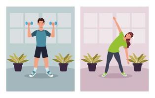 casal praticando exercícios em casa