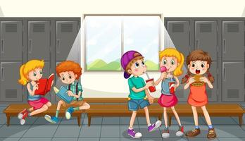 grupo de crianças comendo no vestiário vetor