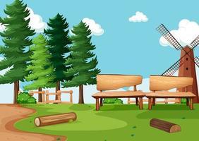 parque natural ou cenário de fazenda com moinho de vento vetor
