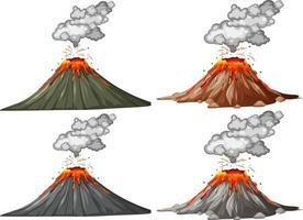 quatro tipos de erupção de vulcão vetor