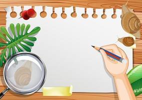 papel em branco na vista de cima da mesa com folhas e elementos de caracol vetor