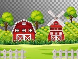 fazenda com celeiro vermelho e moinho de vento vetor
