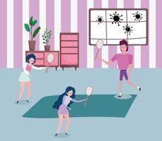 jovens praticando esportes em casa vetor