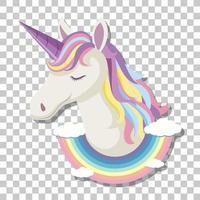 cabeça de unicórnio com juba arco-íris