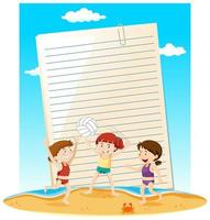 modelo de nota de papel em branco tema de verão vetor