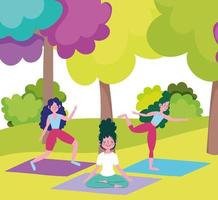 mulheres jovens fazendo atividades ao ar livre