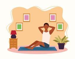 mulher praticando exercícios em casa vetor
