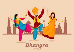 Ilustração Bhangra dança popular vetor