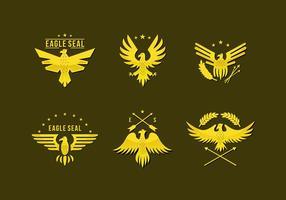 Ouro Pin Águia Seal Logo Vector Plano