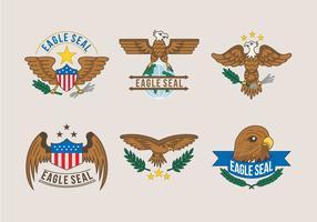 Águia Seal Vector Logo Ilustração