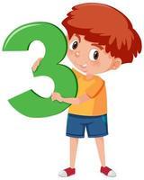 menino segurando o número 3 vetor