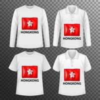 conjunto de camisas masculinas com bandeira de hong kong vetor