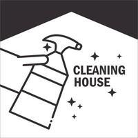 ícone de pictograma de serviço de limpeza doméstica