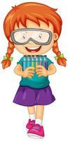 garota feliz segurando tubos de ensaio vetor