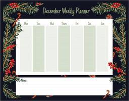 planejador de natal semanal diário fofo vetor
