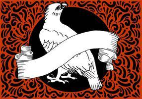 Falcão ornamentado & bandeira Projeto vetor