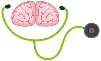 estetoscópio e cérebro humano em fundo branco