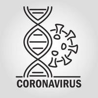 covid-19 e composição de coronavírus com pictograma vetor