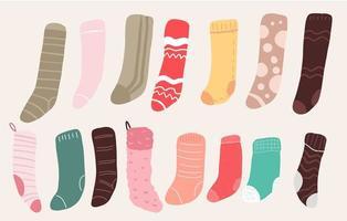 conjunto de decoração de meias fofas de natal vetor