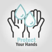 proteja e lave suas mãos pictograma com mensagem vetor