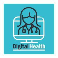 banner digital de saúde com pictograma vetor