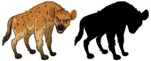 personagem hiena e sua silhueta no fundo branco vetor