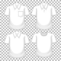 conjunto de diferentes camisas brancas isoladas vetor