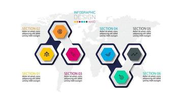 conjunto de forma de ícone infográfico hexagonal colorido vetor