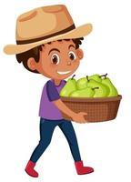 menino de crianças com frutas no fundo branco vetor